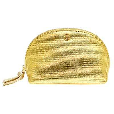 TORY BURCH 立體LOGO金屬感牛皮拉鍊化妝包-金色