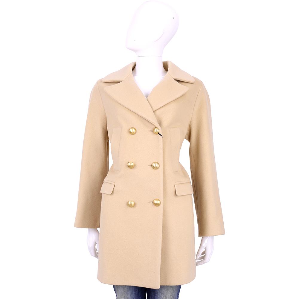 BLUGIRL 米膚色金釦設計羊毛大衣(100%LANA VERGINE)