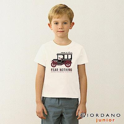 GIORDANO 童裝英文口號復古造型純棉印花T恤-45 標誌白