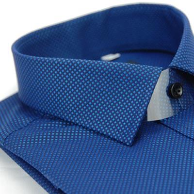 金‧安德森 深藍色方格紋黑釦窄版長袖襯衫