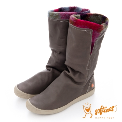 Softinos(女)☆獨色風情軟式真皮中筒毛靴 - 灰/紅紫