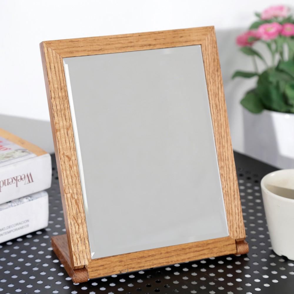 BuyJM典雅橡木色實木長型桌上鏡-DIY