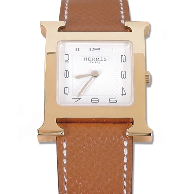 HERMES Heure H小牛皮金框石英女仕腕錶(焦糖咖/26mm)