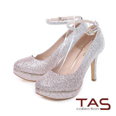 TAS 兩穿式亮粉金屬邊條踝繫帶高跟鞋-玫瑰金