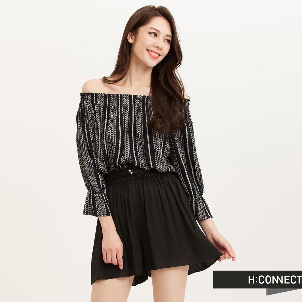 H:CONNECT 韓國品牌 女裝 - 層次感打摺綁帶短褲-黑(快)