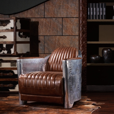 MUSE - Hale霍爾復古工業風鋁質牛皮沙發