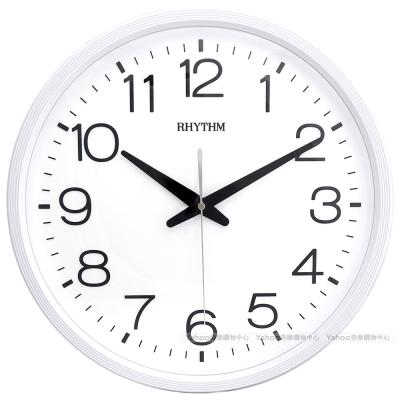 RHYTHM 麗聲 現代簡約高CP值超靜音壁掛鐘-優雅白/36cm