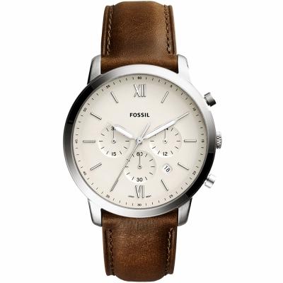 FOSSIL NEUTRA 時尚流行計時手錶(FS5380)-黃x咖啡/44mm