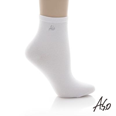A.S.O 抗菌排汗休閒短襪 白