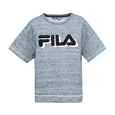 FILA 女款落肩寬鬆箱型T恤-深麻灰 5TES-1438-RG