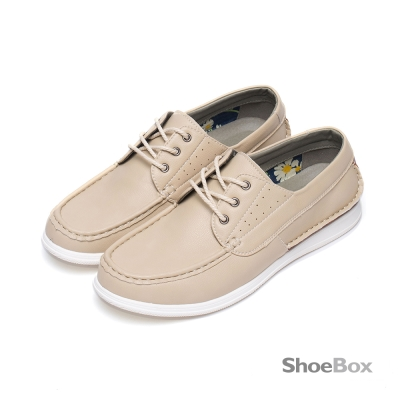 鞋櫃ShoeBox-立體縫線繫帶厚底休閒男鞋-百搭米白