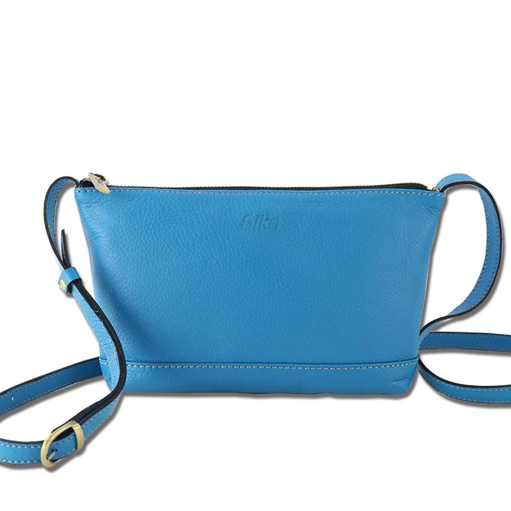 Sika義大利時尚真皮荔枝壓紋肩側背包L6178-05/土耳其藍