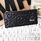 DF Flor Eden皮夾 - 香榭質感牛皮幸運草薄型拉鍊長夾-共2色