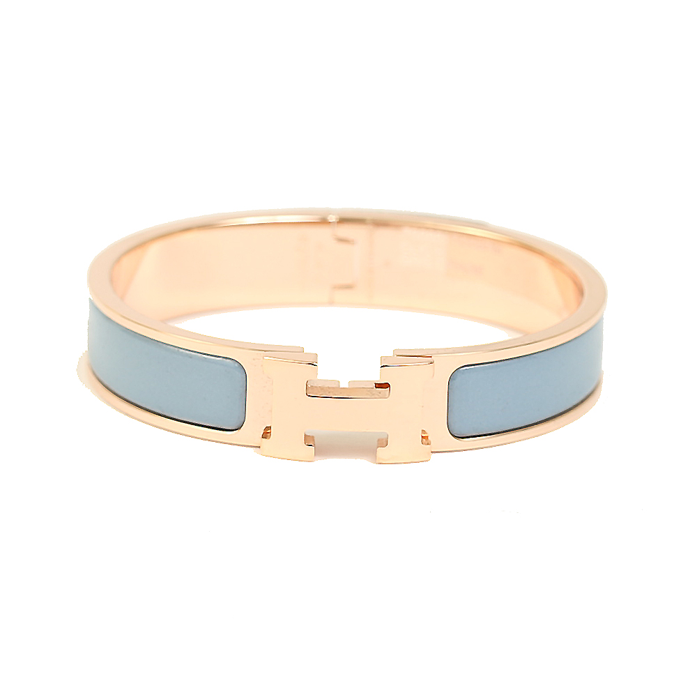 HERMES Clic H LOGO琺瑯扣式細版手環淺藍玫瑰金