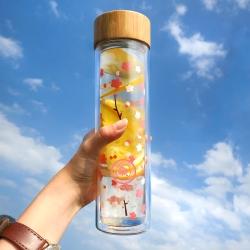 GREEN BELL綠貝 Season雙層玻璃水瓶500ml (春梅粉)