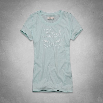AF a&f Abercrombie & Fitch 女 短袖 T恤 藍 0792