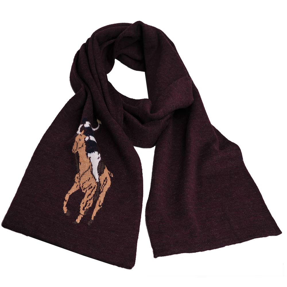 RALPH LAUREN POLO 彩色大馬LOGO素面針織羊毛圍巾(棗紅色)