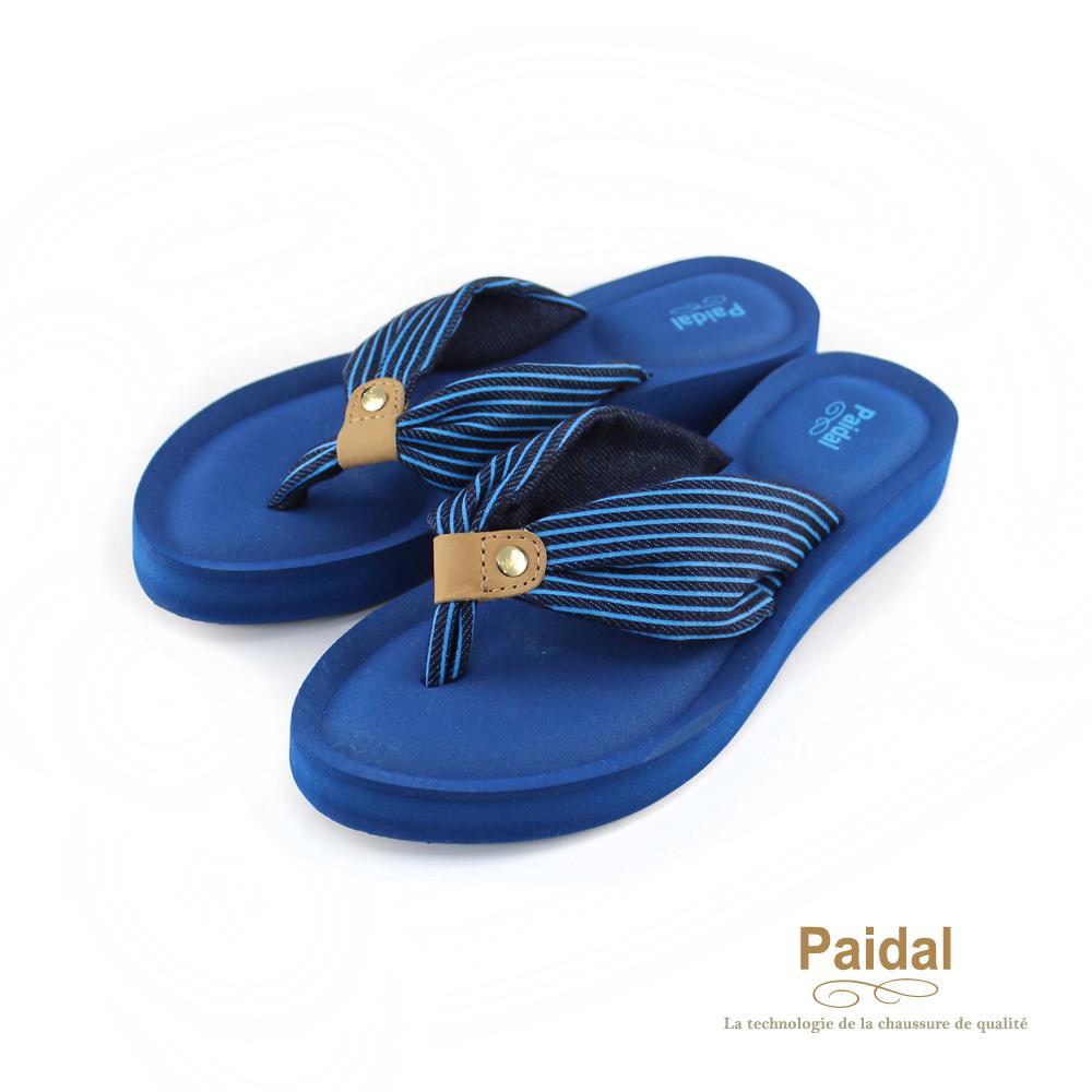 Paidal 蝴蝶節皮飾厚底鞋夾腳鞋-星空藍
