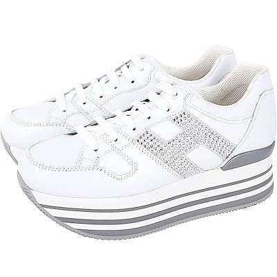 HOGAN Maxi H222 H 水鑽飾厚底繫帶休閒鞋(白色)