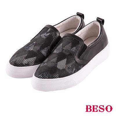 BESO 繽紛渲染 異材質滴膠拼接休閒鞋~黑