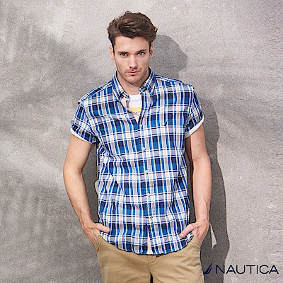 Nautica經典格紋短袖襯衫-藍白