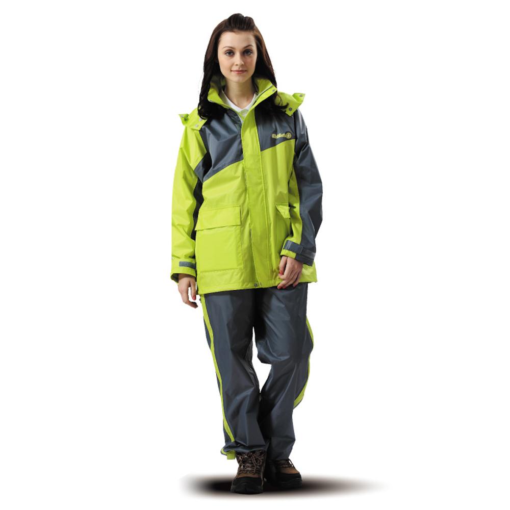 達新牌 飛馳型兩件式休閒風雨衣套裝-綠/灰