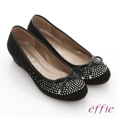 effie 立體幾何 全絨面羊皮星光水鑽楔型跟鞋 黑 @ Y!購物