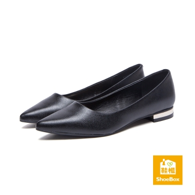 鞋櫃ShoeBox-高跟鞋-純色霧面尖頭低跟鞋-黑