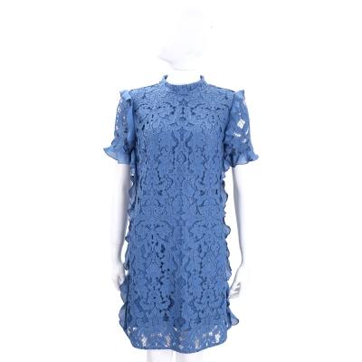 PINKO 藍色荷葉邊織花短袖洋裝