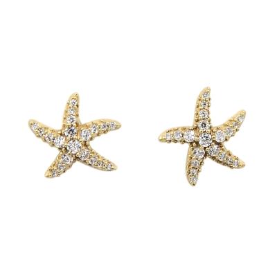apm MONACO法國精品珠寶 閃耀金色海星鑲鋯耳針式耳環