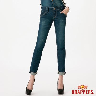 BRAPPERS 女款 Boy Friend系列-女用彈性吊帶九分褲-藍