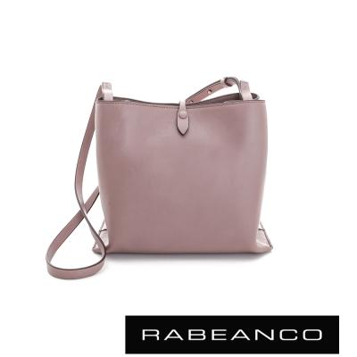RABEANCO-迷時尚牛皮系列經典方型肩背包-大-粉