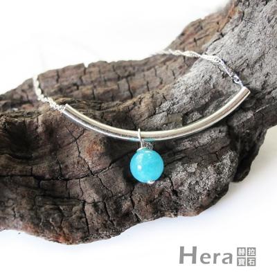 Hera 925純銀手作天然海藍寶U形項鍊/鎖骨鍊