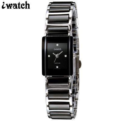 iwatch 方形個性時尚陶瓷錶-黑/18mm