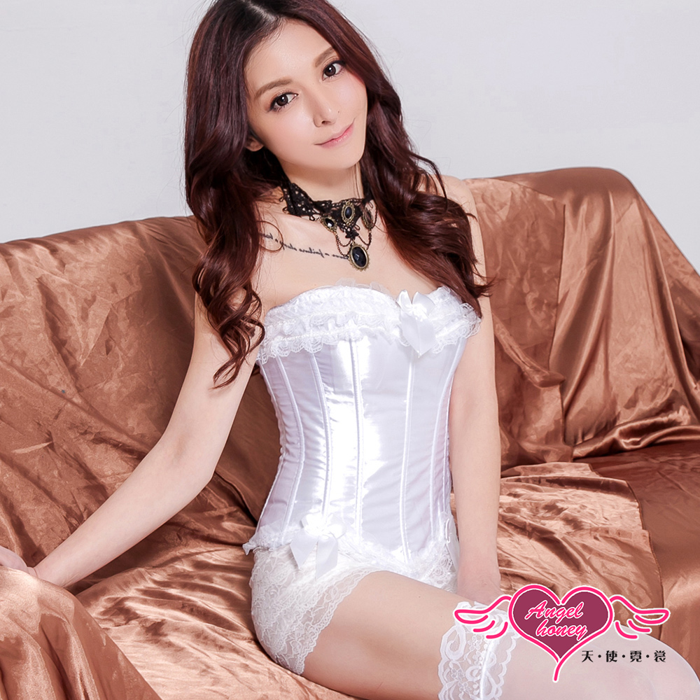 浪漫蕾絲 超可愛 公主腰馬甲(白) AngelHoney天使霓裳