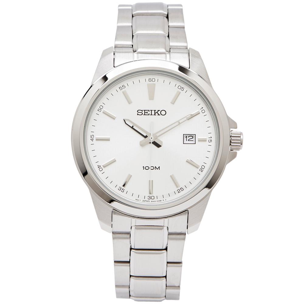 SEIKO 雅致時尚款男性手錶(SUR151P1)-銀面X銀色/42mm