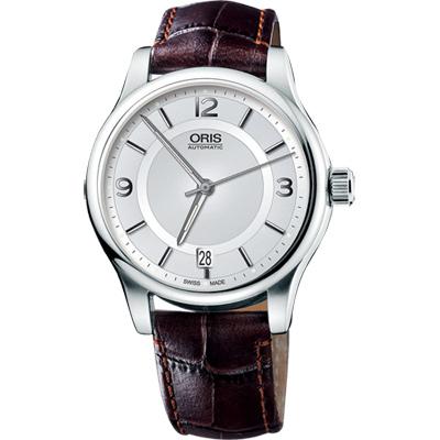 Oris Classic Date 經典都會時尚機械腕錶-銀x咖啡/42mm