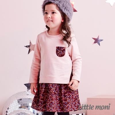Little moni 小碎花拼接洋裝 (共2色)