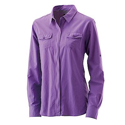 【Wildland 荒野】女拉鏈可調節抗UV襯衫紫