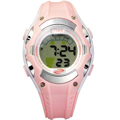 FEMA「小綿羊」卡通造型 鬧鈴夜光 數位兒童錶(P328)-粉紅/34mm