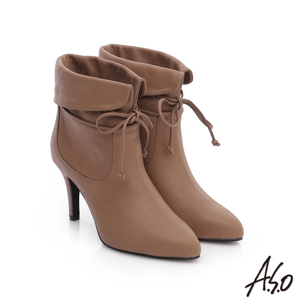 A.S.O 保暖靴 全真皮反摺綁帶奈米高跟短靴 卡其色