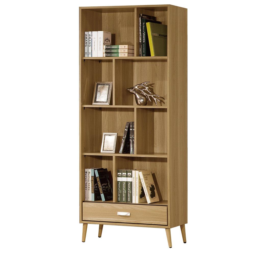 品家居 伊爾莎2.6尺單抽書櫃-78.5x40x197.3cm-免組