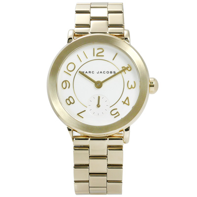 Marc Jacobs 經典簡約設計大數字不鏽鋼手錶-白x鍍金/36mm