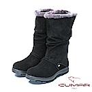 CUMAR冬季時尚 舒適真皮兩用厚底雪靴-黑色