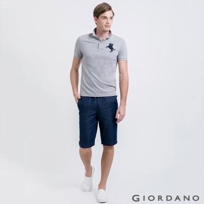 GIORDANO-男裝丹寧抽繩腰修身直筒五分褲-0