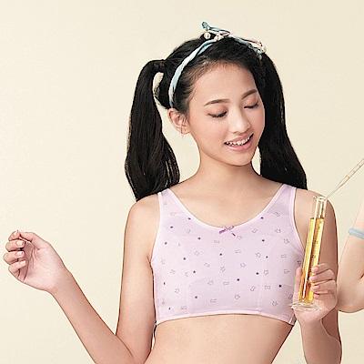 嬪婷 學生內衣 第一階段 晶球牛奶S-LL 背心式學生內衣(粉嫩紫)