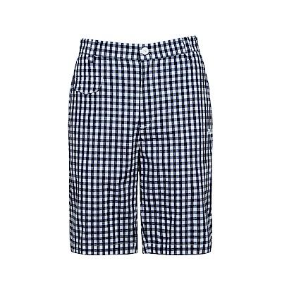 FILA 男款棉質格紋短褲-白 1SHS-1424-WT