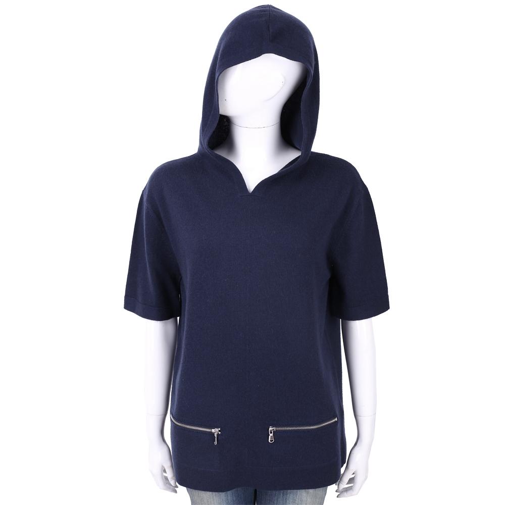 ALLUDE 喀什米爾深藍色連帽羊毛針織衫