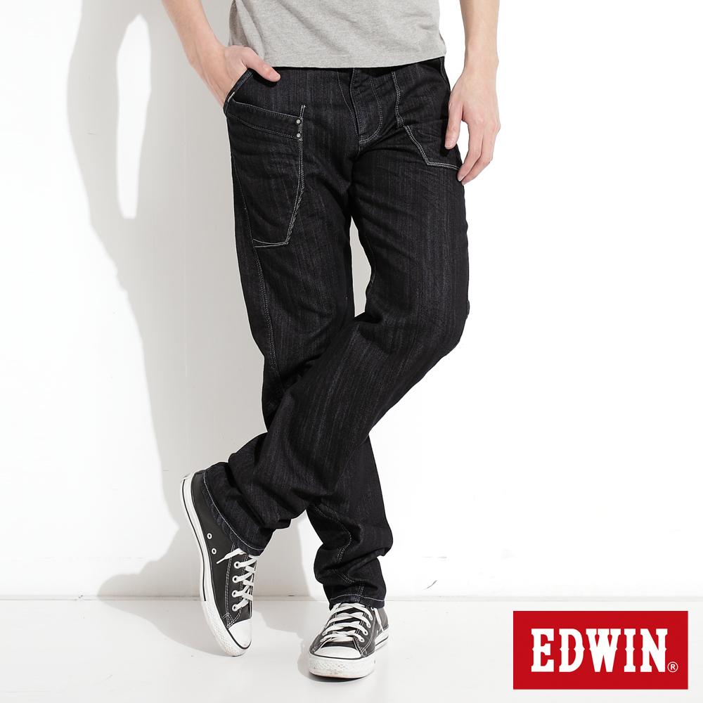 EDWIN 加大碼E-FUNCTION窄直筒牛仔褲-男-原藍色