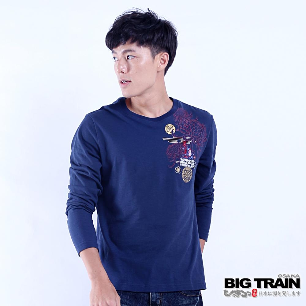 BIG TRAIN 豐饒菊鯉長袖圓領T-男-深藍